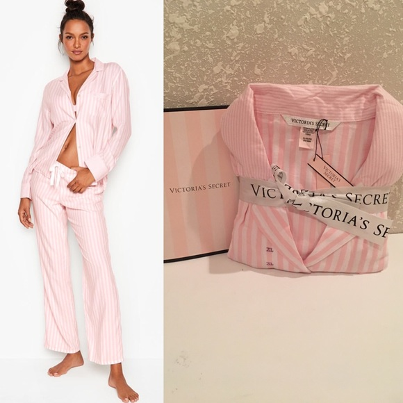 Victorias Secrets The Satin Pink//White Logo Stripe MEDIUM
